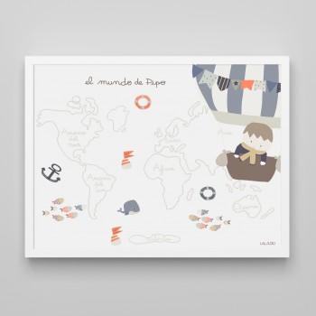 cuadro infantil mapamundi